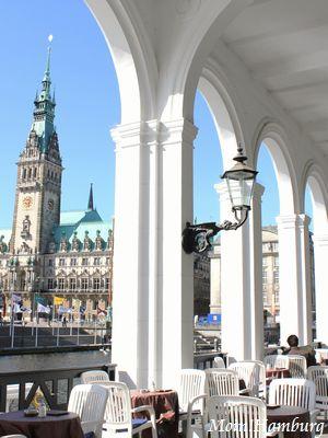 ハンブルク市庁舎とアルスター・アルカーデン