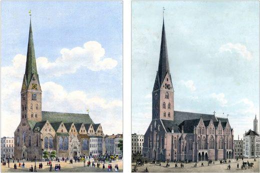 聖ペトリ教会(左:1840年 右:1849年)
